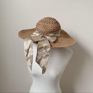 Atlas Wide Brim Woven Summer Hat w Floral Scarf